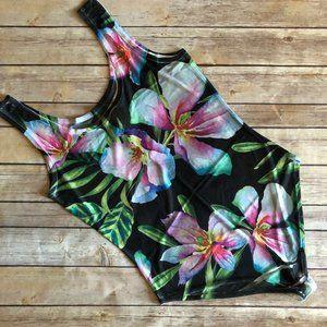 3/$25 Gaze Black Floral Print Mesh Bodysuit